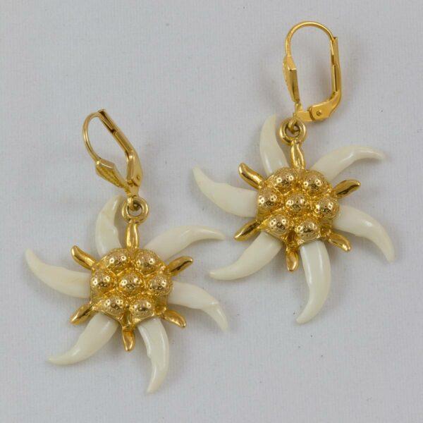 Marder-Edelweiss Ohranhänger, vergoldet